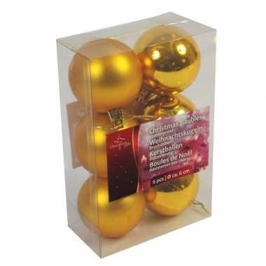 Gouden kerstballen kerstversiering van plastic 6 stuks van 6 cm