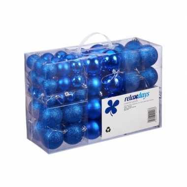 Plastic 100x blauwe kunststof kerstballen 3, 4 en 6 cm glitter, mat, glans