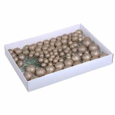 Plastic 100x champagne glitter mini kerstballen stekers kunststof 2/3/4