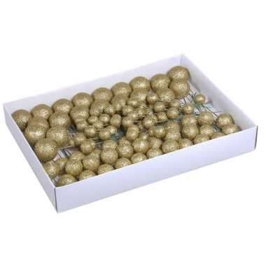 Plastic 100x gouden glitter mini kerstballen stekers kunststof 2/3/4 cm