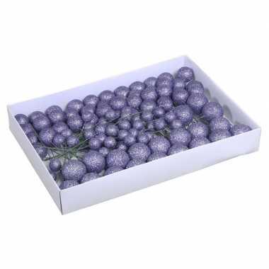 Plastic 100x paarse glitter mini kerstballen stekers kunststof 2/3/4 cm