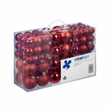 Plastic 100x rode kunststof kerstballen 3, 4 en 6 cm glitter, mat, glans