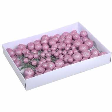Plastic 100x roze glitter mini kerstballen stekers kunststof 2/3/4 cm