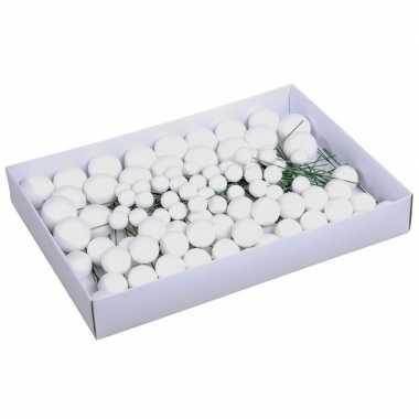 Plastic 100x witte glitter mini kerstballen stekers kunststof 2/3/4 cm