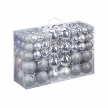 Plastic 100x zilveren kunststof kerstballen 3, 4 en 6 cm glitter, mat, glans