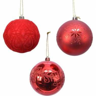 Plastic 12x rode luxe kunststof kerstballen 8 cm kerstversiering