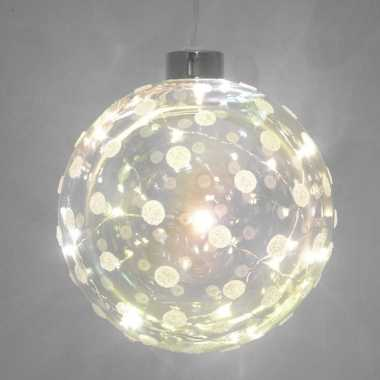 Plastic 1x glazen decoratie kerstballen met 20 led lampjes verlichting 12 cm