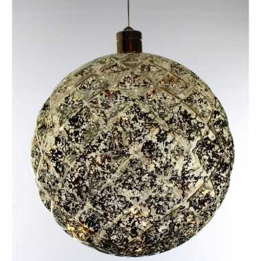 Plastic 1x grote gouden verlichte decoratie kerstballen 20 cm