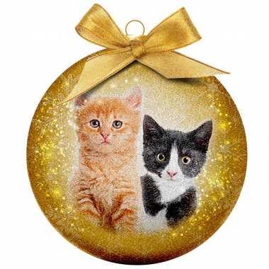 Plastic 1x kunststof dieren kerstballen met 2 katten/poezen 8 cm