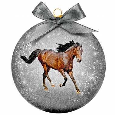 Plastic 1x kunststof dieren kerstballen met paard 8 cm