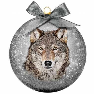 Plastic 1x kunststof dieren kerstballen met wolf 8 cm