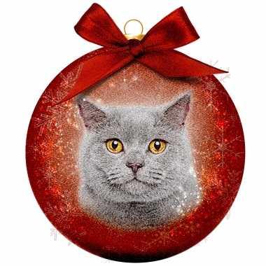 Plastic 1x kunststof rode dieren kerstballen met grijze kat/poes 8 cm