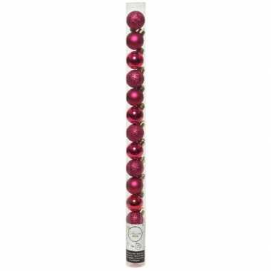 Plastic 20x kleine bessen roze kunststof kerstballen 3 cm