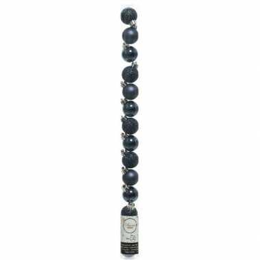 Plastic 20x kleine donkerblauwe kunststof kerstballen 3 cm glans/mat/gli