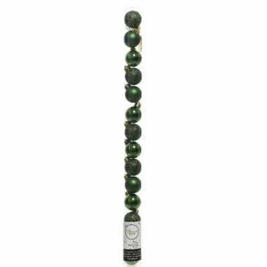 Plastic 20x kleine donkergroene kunststof kerstballen 3 cm