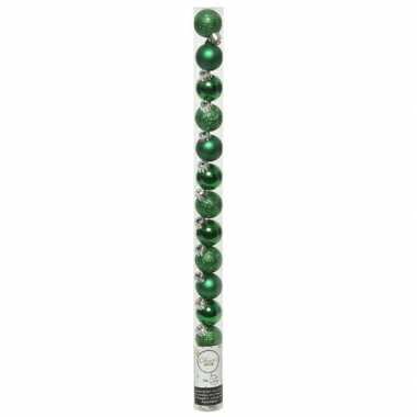 Plastic 20x kleine kerst groene kunststof kerstballen 3 cm