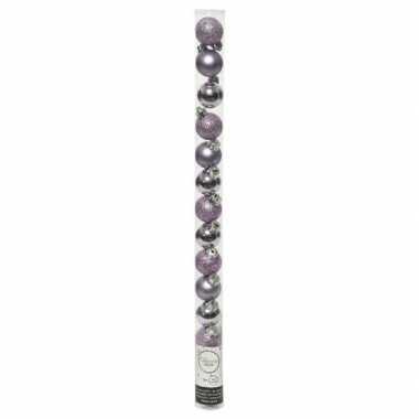 Plastic 20x kleine lila paarse kunststof kerstballen 3 cm