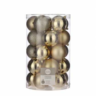 Plastic 25x kunststof kerstballen goud 8 cm