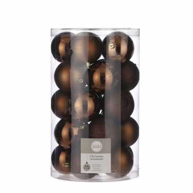 Plastic 25x kunststof kerstballen kastanje bruin 8 cm