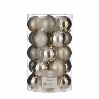 Plastic 25x kunststof kerstballen licht champagne 8 cm