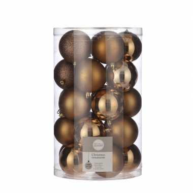 Plastic 25x kunststof kerstballen licht koper 8 cm