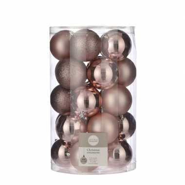 Plastic 25x kunststof kerstballen lichtroze 8 cm