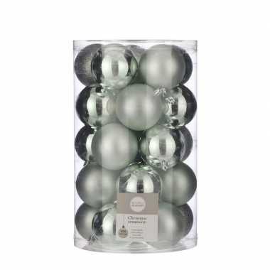 Plastic 25x kunststof kerstballen mint groen 8 cm