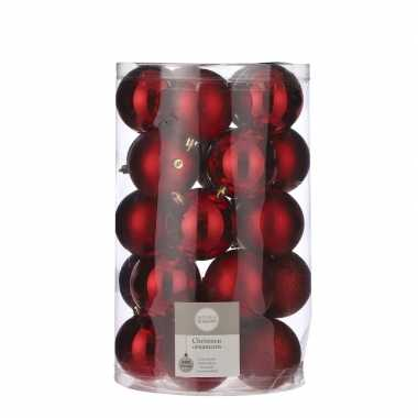Plastic 25x kunststof kerstballen rood 8 cm