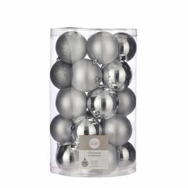 Plastic 25x kunststof kerstballen zilver 8 cm