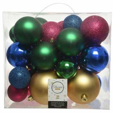 Plastic 26 stuks kunststof gekleurde mix kerstballen 6, 8, 10 cm
