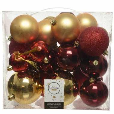 Plastic 26 stuks kunststof kerstballen mix goud rood 6, 8, 10 cm