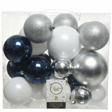 Plastic 26x kunststof kerstballen mix wit blauw zilver 6, 8 en 10 cm