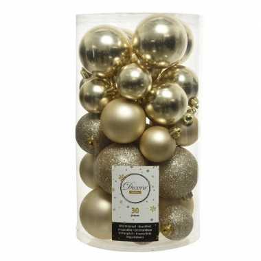 Plastic 30x champagne beige kerstballen 4 5 6 cm kunststof mat/glans/glitter