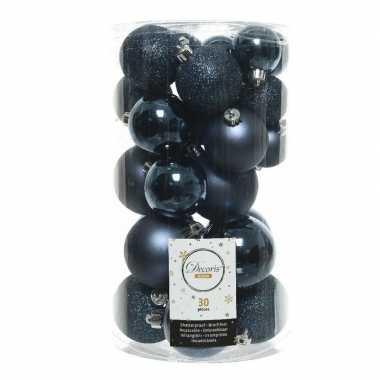 Plastic 30x donkerblauwe kerstballen 4 5 6 cm kunststof