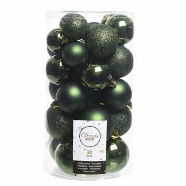 Plastic 30x donkergroene kerstballen 4 5 6 cm kunststof