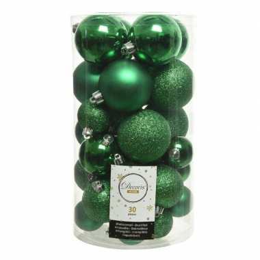 Plastic 30x kerstgroene kerstballen 4 5 6 cm kunststof mat/glans/glitter