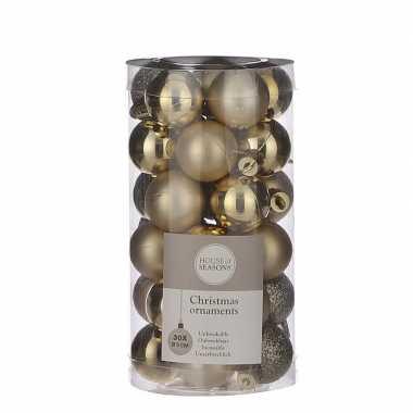 Plastic 30x kleine kunststof kerstballen goud 3 cm