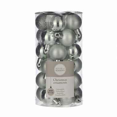 Plastic 30x kleine kunststof kerstballen mint 3 cm kerstversiering
