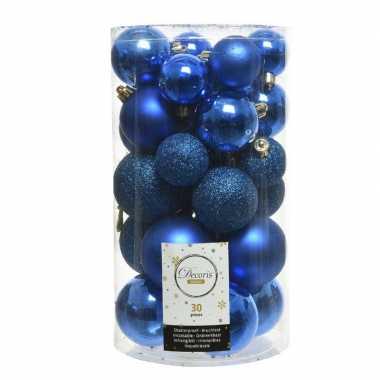 Plastic 30x kobalt blauwe kerstballen 4 5 6 cm kunststof