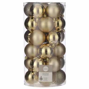 Plastic 30x kunststof kerstballen goud 6 cm