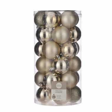 Plastic 30x kunststof kerstballen licht champagne 6 cm