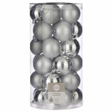 Plastic 30x kunststof kerstballen zilver 6 cm