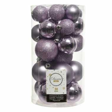 Plastic 30x lila paarse kerstballen 4 5 6 cm kunststof mat/glans/glitter