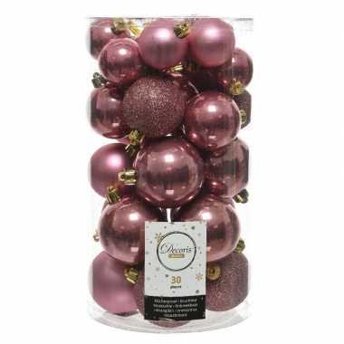 Plastic 30x oud roze kerstballen 4 5 6 cm kunststof