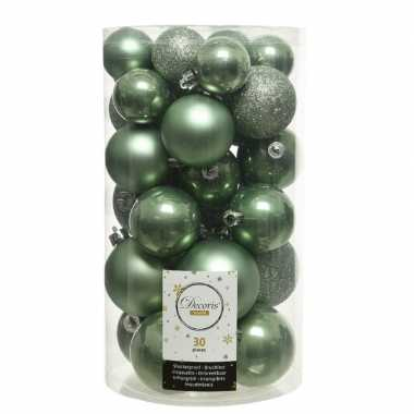 Plastic 30x salie groene kerstballen 4 5 6 cm kunststof mat/glans/glitter