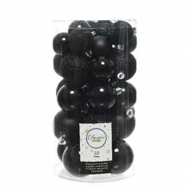 Plastic 30x zwarte kerstballen 4 5 6 cm kunststof mat/glans/glitter
