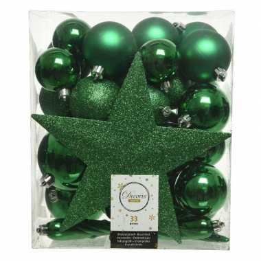 Plastic 33x kerstgroene kerstballen met ster piek 5 6 8 cm kunststof mi
