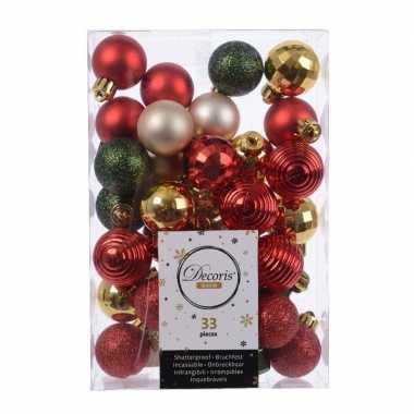 Plastic 33x kerstversiering kerstballen mix rood/ champagne/ goud/ gr