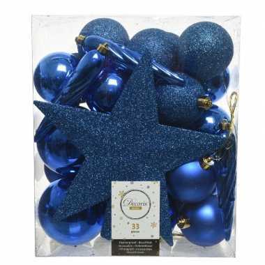 Plastic 33x kobalt blauwe kerstballen met ster piek 5 6 8 cm kunststof m