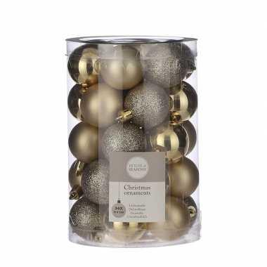 Plastic 34x kunststof kerstballen goud 4 cm